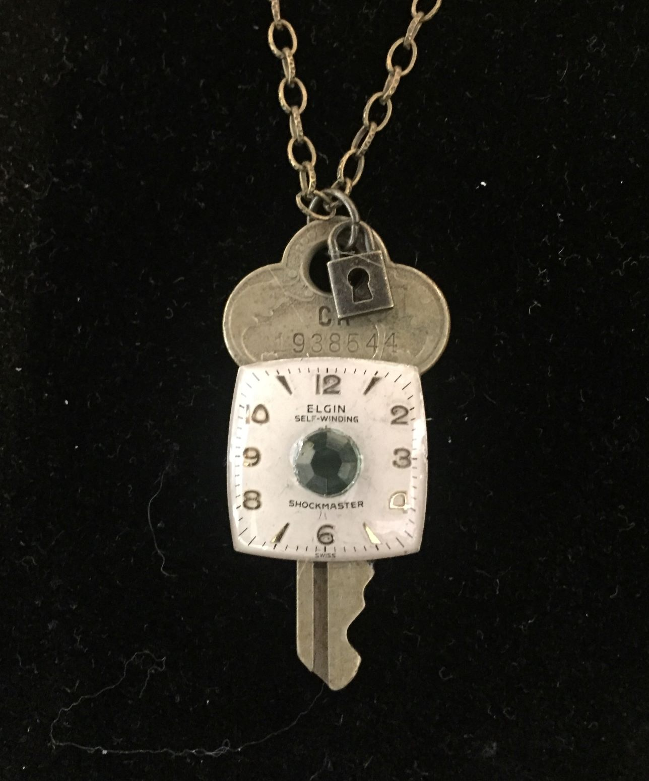 Necklace with Key and Elgin watchface