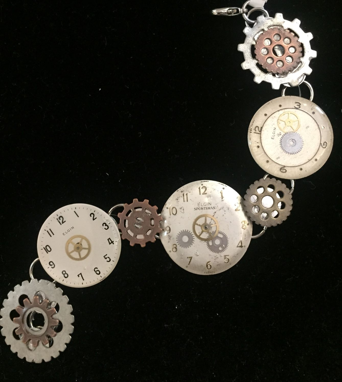 Bracelet made with Elgin watch faces and gears