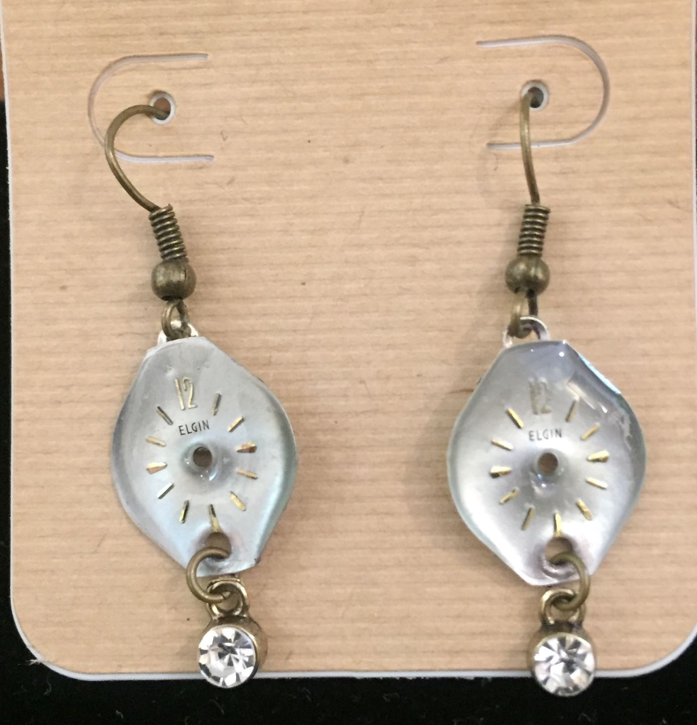 Earrings made with Elgin watch faces