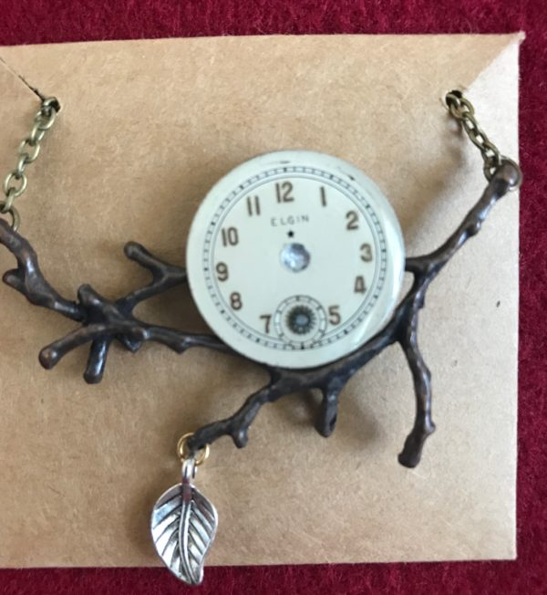 Elgin Watch branch and leaf Necklace