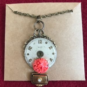 Round Elgin Watch face with pink flowers Necklace