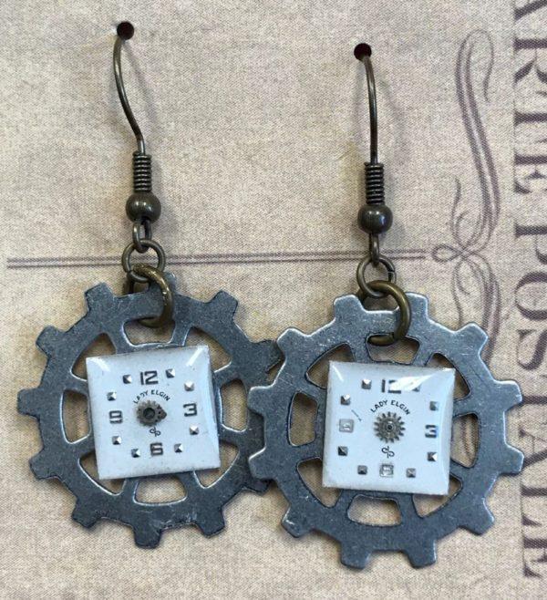 Elgin watch on gears earrings