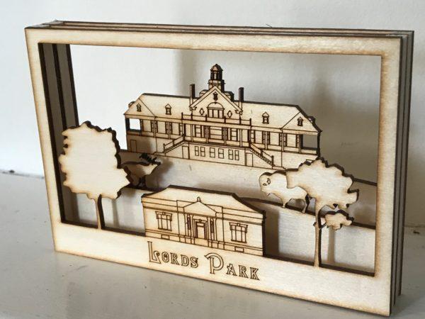 3D woodcut diorama Lords Park