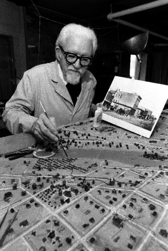 Elmer Gylleck creating diorama